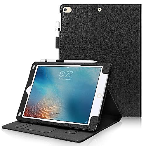 FYY Custodia per iPad Air 2, Ultra Sottile Smart Case Cover con la Funzione Auto Sleep con Slot per Schede per Apple iPad Air 2 (A1566/A1567)/iPad 9.7 Pollici(2017/2018)/iPad 5/iPad 6-Nero