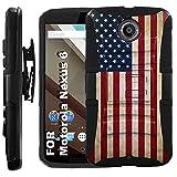 TalkingCase Black Dual Layer Phone Case for Motorola Nexus 6,T56QD1,American Flag Print,Full Protection,Kickstand,Belt Clip Holster,Designed in USA