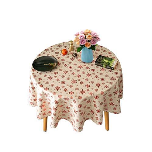 NATTHSWE Mantel redondo de Navidad, mantel de lino para comedor, cocina y picnic, fiestas, cena de vacaciones
