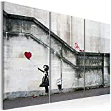 murando Cuadro Acústico Banksy 90x60 cm XXL Impresión Artística 3 Piezas Lienzo de Tejido no Tejido Decoración de Pared Aislamiento Absorción de Sonidos Street Art Girl with Baloon i-B-0030-b-e