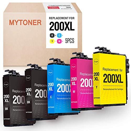 MYTONER Remanufactured Ink Cartridge Replacement for Epson 200XL 200 XL for Expression XP-200 XP-300 XP-310 XP-400 XP-410 Workforce WF-2520 WF-2530 WF-2540 Printer(2 Black,1 Cyan, 1 Magenta,1 Yellow)