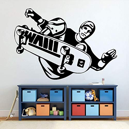 Skateboarding Skateboarding Stunt Stunt Flip Jump Vinilo Adhesivo de pared Utensilios de cocina con proverbios Decoración de pared