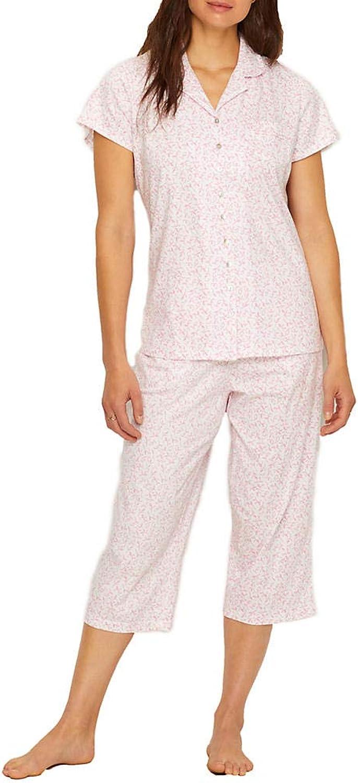 Eileen West Jersey Knit Cropped Pajama Set
