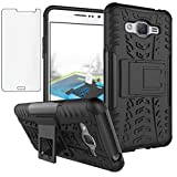 Phone Case for Samsung Galaxy Grand Prime J2 Prime with Tempered Glass Screen Protector Cover and Stand Kickstand Hard Rugged Hybrid Protective Cell Accessories Glaxay 2 2J Plus Cases Women Men Black