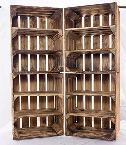 Obstkisten-online 5X GEFLAMMTE HOLZKISTEN - 2 REGALBÖDEN - NEU - viel Platz im Schuhregal - geflammt - mit toller Holzoptik, Deko - 40x30x50 cm