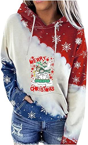 RAHEEM Sudaderas con capucha de Navidad para mujer, sudaderas casuales con cremallera, manga larga, otoño e invierno, acogedoras camisetas (color: A, tamaño: L)