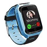 GPS Niños Smartwatch Phone - Tracker Watch Relojes para Niños con Contador de Pasos Geo Fence Cámara SOS Linterna Chat de Voz Juego para 3-12 Niños Compatible con iOS/Android (M11 Azul)