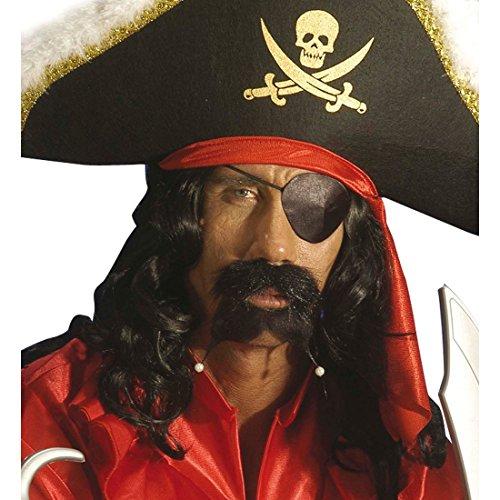 NET TOYS Cache-œil Satin Noir Bandeau Pirate Pirates Pirate Corsaire déguisement Accessoire Mardi Gras Carnaval soirée à thème