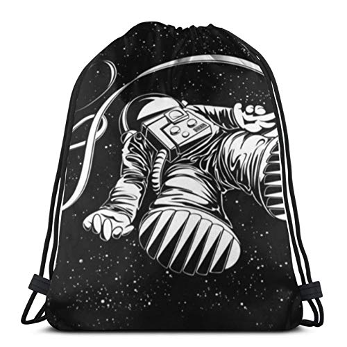 Affordable shop Lost Astronaut Flying Spaceman On Science Drawstring Backpack Sport Bags Cinch Tote Bags For Traveling And Storage For Men And Women 17X14 Inch
