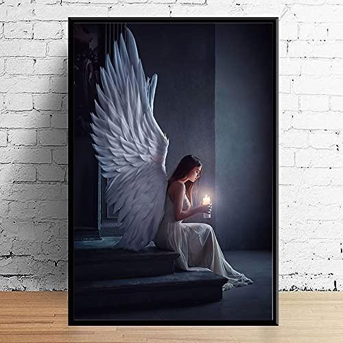 Puzzle 1000 pezzi Ragazza decorazione pittura pittura candela angelo tiro arte pregando puzzle 1000 pezzi paesaggi Gioco di abilità per tutta la famiglia, colorato gioco di po50x75cm(20x30inch)
