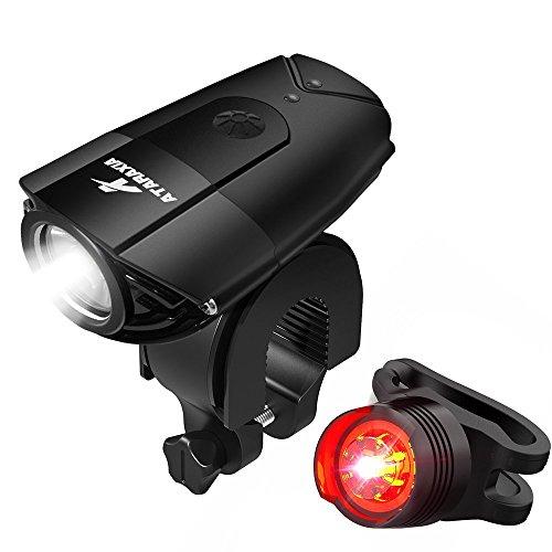ATARAXIA 自転車ライト 1200ルーメン 2000mah USB充電式 ヘッドライト IP65防水 テールライト付き Black