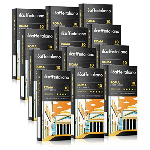 Il Caffé Italiano Coffee, Capsules Compatible with Nespresso OriginalLine, Certified Genuine Roma Roma Strong Intensity Pack, 100 Espresso Pods, Crafted in Sicily