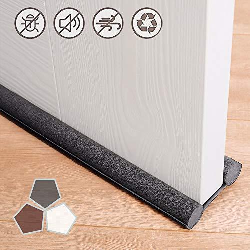 Under Door Draft Stopper 37 Inches Cuttable and Washable,Twin Door Draft Stopper,Energy Saving Door Weather Stripping Reduce Noise Window Breeze Blocker Adjustable Door Sweeps,White