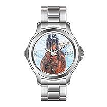 FDCクリスマスギフトWatchesメンズファッションJapanese Quartz DateステンレススチールBracelet Watchベイ冬馬' Year of the Horse ' Equineフォト手首腕時計