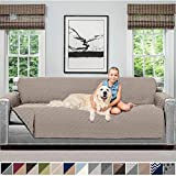 Sofa Shield Original Patent Pending Reversible X-Large Oversized Sofa Protector for Seat Width up to 78 Inch, Furniture Slipcover, 2 Inch Strap, Couch Slip Cover Throw for Pet Dogs, Sofa, Light Taupe