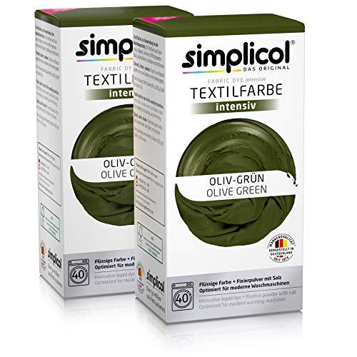 Simplicol Textilfarbe intensiv (18 Farben), Oliv-Grün 1814 2er Pack, Dunkelgrün: Einfaches Färben in der Waschmaschine, All-in-1 Komplettpackung