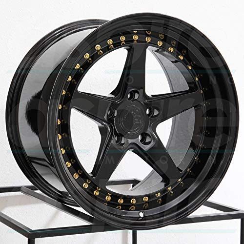 AodHan DS05 Wheel - Gloss Black W/Gold Rivets: 18x8.5 Wheel Size; 5x100 Lug Pattern; 73.1mm Hug Bore; 35mm Off Set.