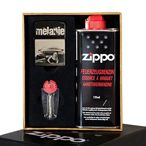 Gravur.ZONE Zippo Original Black Matt Silber | inkl. Foto- und Wunschgravur mit Geschenkbox | graviert | Fotogravur | Gravur | Geschenkidee | Zippo