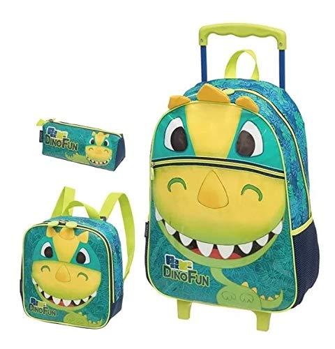 Kit Mochila Infantil Rodinhas Dinossauro Fun Rex Pacific G