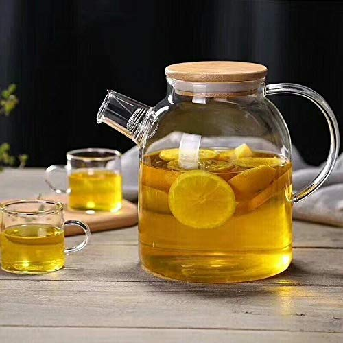 Glass Pitcher with Bamboo Wood Lid - iced, Green Tea,hot Cold Water, Juice, Beverage Jug with Handle, Glass Kettle (1.8 Liter)