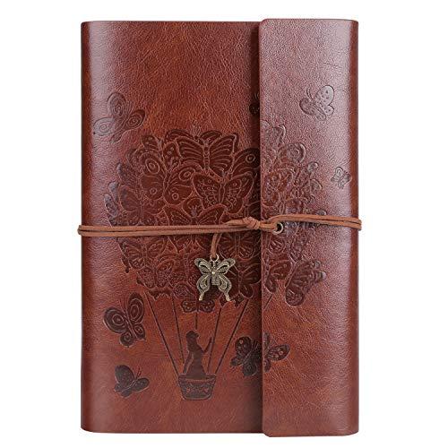 OMEYA Leder Notizbuch, Vintage-Spiralbindung tagebuch, Ringbuch Retro Journal, Nachfüllbar Skizzenbuch, Reisetagebuch Mit Linienpapier, Geschenke für Damen und Mädchen A5 9.3''×6.3'' -Brown