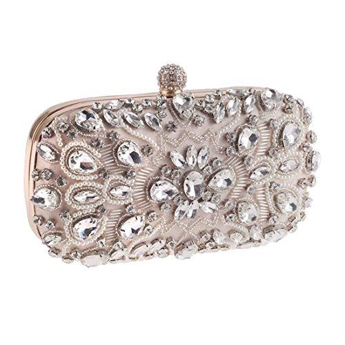 nobrand WANGXIANGLIAN Damen Diamant-Kupplungs-Wulstige Abendtasche Hand Brautkleid Geldbeutel Partei-Beutel (Color : Apricot)