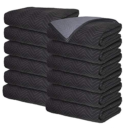 Moving Blankets - Professional Packing Shipping Moving Pads - Cheap Cheap Moving Boxes (Deluxe Blankets (45 lb/dz) - 12 Pack)