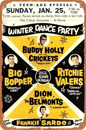 OSONA Winter Dance Party Buddy Holly Crickets Stars In Person Retro nostálgico arte tradicional color óxido logotipo de lata publicidad llamativa decoración de la pared regalo