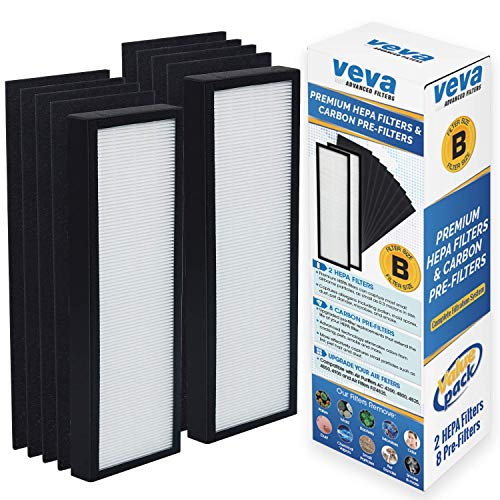 VEVA Premium 2 HEPA Filters and 8 Pack of Pre-Filters Compatible with Air Purifier Models AC4825, 4800, 4900 and Replacement Filter B
