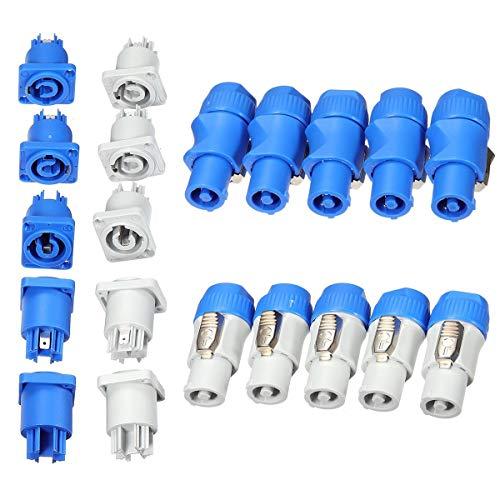 10Set NAC3MPA-1+ PowerCON Typ A NAC3FCA Chassis Stecker Panel Adapter Plug Blau