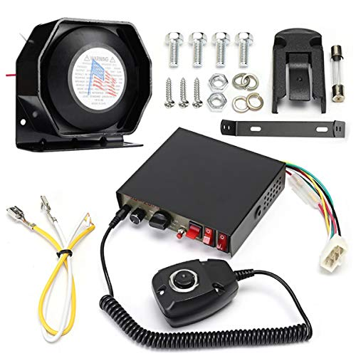 DC 12V 400W 8 Sounds Loud Car Warning Alarm Police Siren Horn Speaker MIC Microphone System, Light Control Switch and Voice Amplification, Hands-Free Operation, Anti-Jamming, Stable Tone