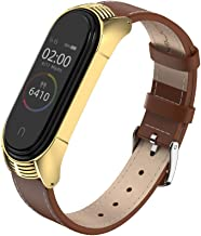 MIJOBS Compatible Xiaomi Mi Band 4, Genuine Leather Replacement Strap Breathable Wristband with Metal Frame Bracelet Accessories for Xiaomi Mi Band 3 Smart Watch Bracelet Wristband (Brown+Gold)