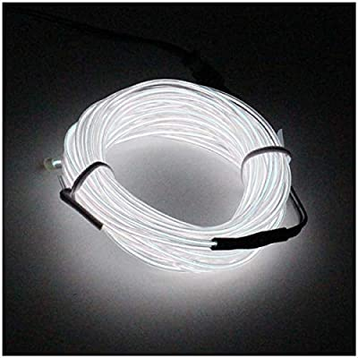 SZFC EL Wire 5M(16.4ft) Neon Lights Glowing Strobing Super Bright Battery Operated Rope for Cosplay Dress Festival Halloween Christmas Party Decoration(White)