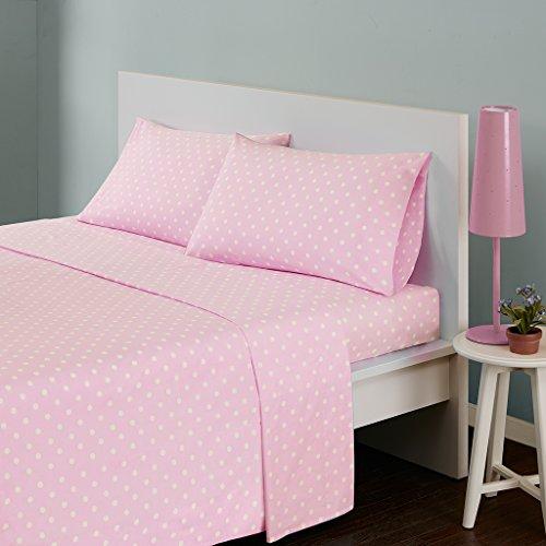 Mi Zone 100% Cotton Percale Ultra Soft Sheet Set, Twin, Pink Polka Dot