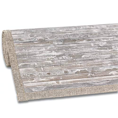 andiamo Teppich Bambus, Indoor & überdachten Outdoor, Rutschfester Vorleger & Läufer, Farbe:Grau, Größe:160 x 230 cm