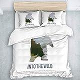 Juego de Funda nórdica de 3 Piezas, Animales Salvajes de Canadá, Supervivencia en la Naturaleza, Caza, Camping, Viaje. Bear, Kids Boys Juego de Cama