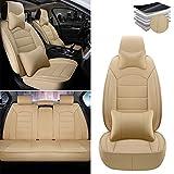 Tuqiang Fundas para asientos de coche para Nissan Altima Frontier Note Rogue Versa Pathfinder Sentra Maxima, funda de asiento impermeable de piel sintética color beige