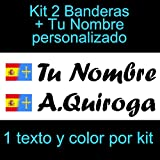 Vinilin - Pegatina Vinilo Bandera España/Asturias + tu Nombre - Bici, Casco, Pala De Padel, Monopatin, Coche, etc. Kit de Dos Vinilos (Negro)