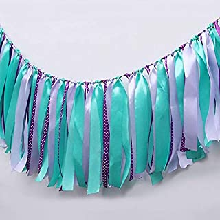 High-Chair Banner for 1st Birthday Handmade First Wild One Birthday Ribbons Tassels Garlands Decorations Turquoise Baby Shower Photo Booth Backdrop Props Decorations