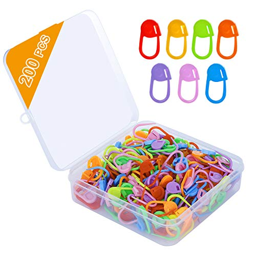 HDONG 200 PCS Crochet Markers, Premium Knitting Stitch Markers, Mix Colors Crochet Stitch Markers of Locking Counter Needle Clip, Crochet Pin Set with Plastic Case.