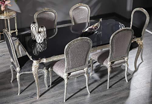 Casa Padrino Mesa de Comedor Barroco de Lujo Negro/Plata Antigua 222 x 107 x A. 79 cm - Mesa de Cocina de Madera Maciza Noble - Muebles de Comedor en Estilo Barroco
