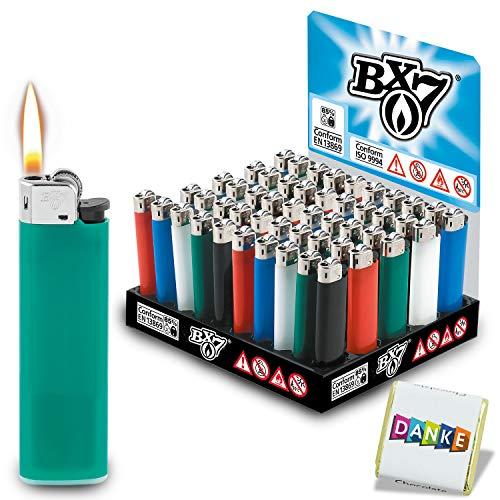 BX7 Feuerzeuge F23 (50 Stück) Reibrad Midi | hergestellt durch BIC Made in France | höchster Sicherheitsstandard | Nicht gebrandet Aber 100% BiC-Qualität | 1000 Zündungen garantiert
