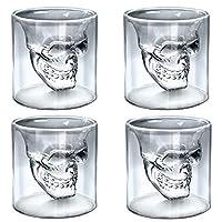 💀 4x Totenkopfgläser von ALANDIA Barware (Bessere Glasqualität als vergleichbare Angebote) 💀 Jedes Totenkopf Glas besitzt eine Füllmenge von 80 ml (die Gläser sind ideal als ausgefallenes Absinth Glas, für einen Shot oder auch einen kräftigen Espress...