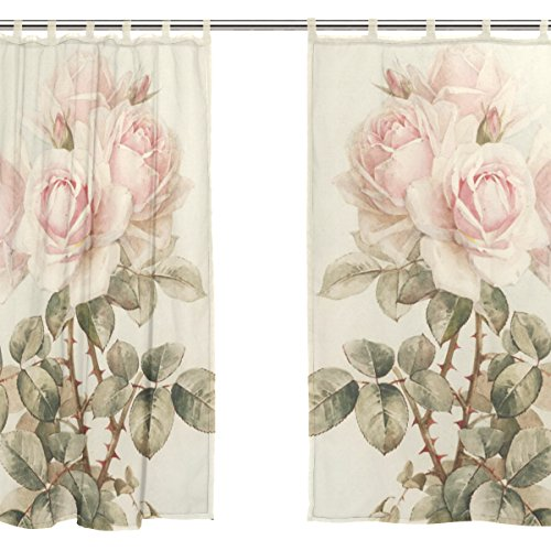 Jstel 2 pcs Voile de rideau de fenêtre, vintage shabby chic Rose florale de Rose, tulle Sheer Rideau Drape Lit 139,7 x 198,1 cm Ensemble de deux Panneaux