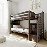 Max & Lily Bunk Bed with Staircase, Twin, Clay