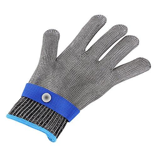 FTVOGUE Schnittfester Handschuh Schnittfest Stabbeständiger Edelstahl Draht Metallgewebe Butcher Baumwolle Handgelenkschutz XL