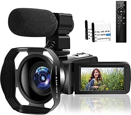 Videokamera 4K Camcorder 30FPS 48.0MP IR Nachtsicht Vlogging Kamera 3.0 Zoll LCD Flip Screen Camcorder Full HD mit Mikrofon und 2.4G Fernbedienun