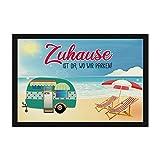 Print Royal Camping Fußmatte mit lustigem Spruch - Strand - Zuhause ist da, wo wir parken - Geschenkidee/Camping Zubehör/Campingmatte/Vorzeltteppich - 60 x 40 cm