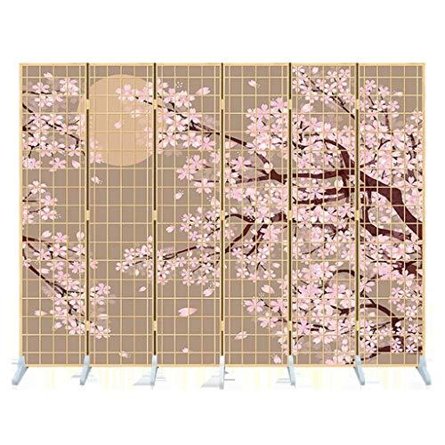 XXJF 6 -Panel Biombo Separador Divisor habitación Estar Pantalla de Privacidad Separador de Sala Flor De Ciruelo