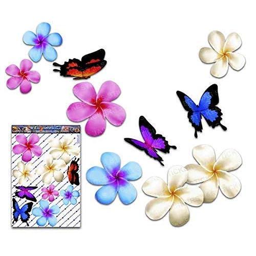 Fiore frangipani plumeria multicolore doppio + farfalla grande adesivi auto autoadesivi - ST00024MC_LGE - JAS Stickers